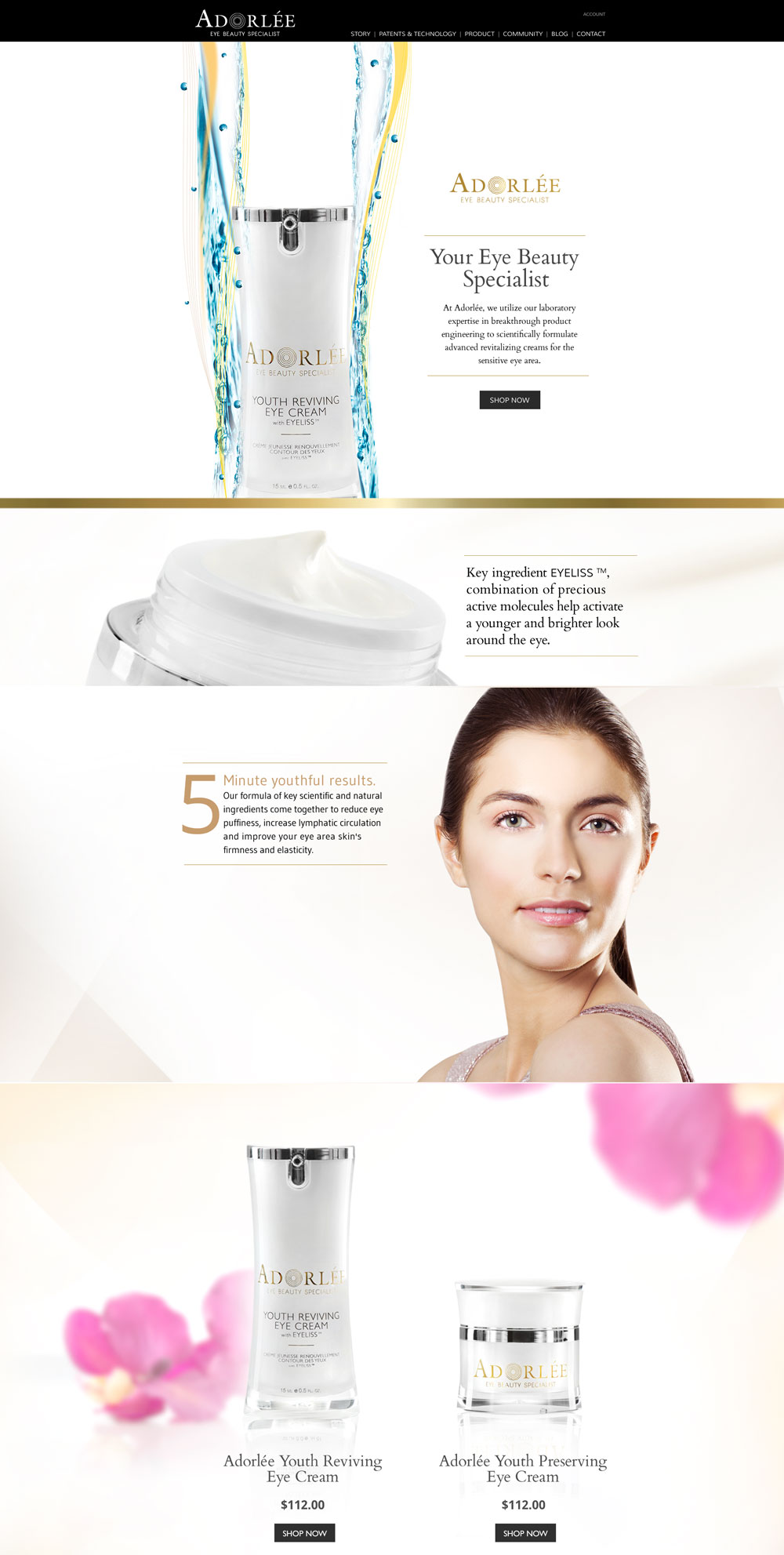 Adorlee Skin Care Branding & Webdesign